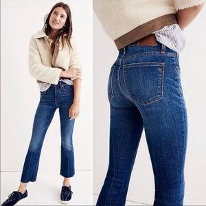 Madewell Cali Demi Boot High Rise Jeans Frayed Hem
